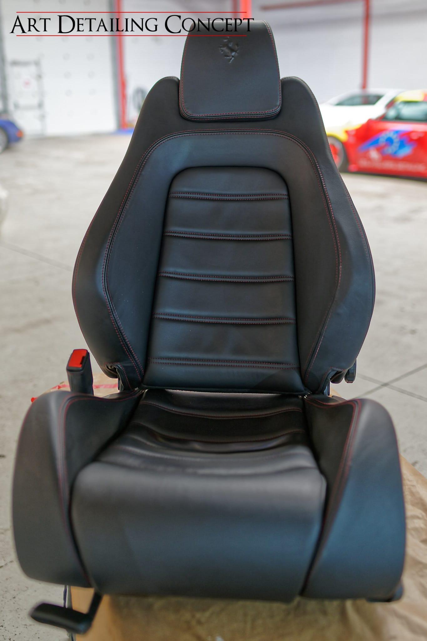 rénovation cuir siège Ferrari